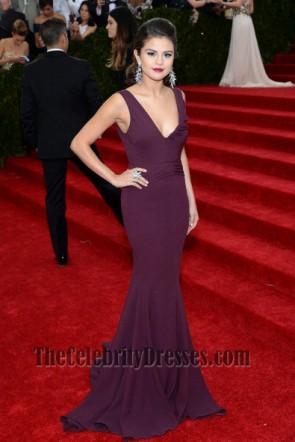 Selena Gomez Grape Prom Dress MET Gala 2014 Red Carpet
