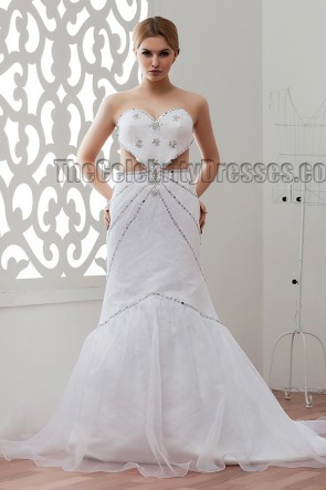 Sexy Backless Strapless Seetheart Beaded Wedding Dresses