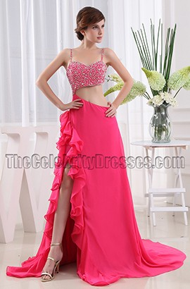 Sexy Fuchsia Cut Out A-Line Evening Dress Prom Gown