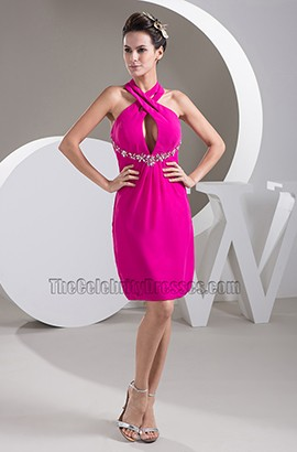 Sexy Fuchsia Chiffon Halter Short Party Cocktail Dresses