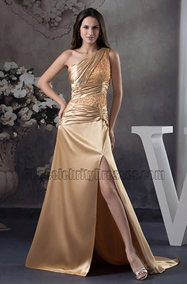 Sexy Gold One Shoulder Evening Gown Prom Military Ball Dresses