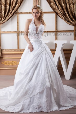 Sexy Halter A-Line Beaded Embroidered Chapel Train Wedding Dress