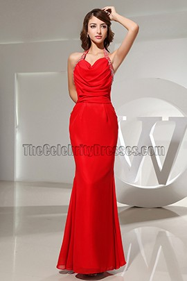 Sexy Red Halter Backless Evening Dress Prom Gowns