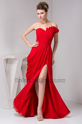Sexy Red Strapless Prom Gown Evening Prom Dresses