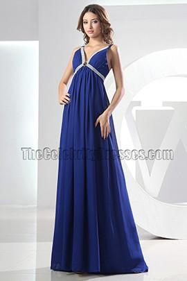 Sexy Royal Blue V-neck Prom Dress Evening Formal Dresses