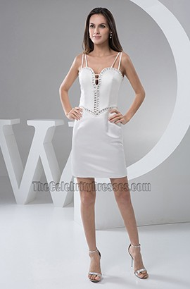 Sexy White Spaghetti Straps Cocktail Party Dresses