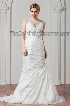 Sheath/Column Beaded Sweep Brush Train Wedding Dresses