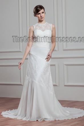 Sheath/Column Lace Sleeveless Wedding Dresses