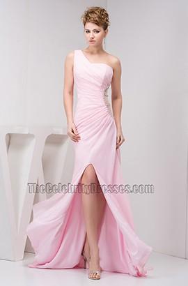 Sheath/Column Pink Chiffon One Shoulder Prom Evening Dresses