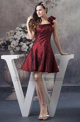 Short A-Line Burgundy One Shoulder Homecoming Party Dresses