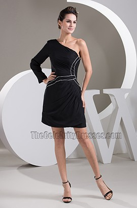 Short Black One Sleeve Party Graduation Homecoming Dresses