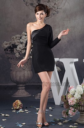 Chic Short Black One Sleeve Party Homecoming Dresses