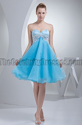 Short Blue Strapless Graduation Party Homecoming Dresses
