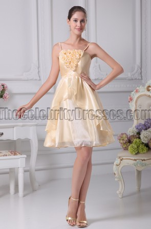 Short Daffodil A-Line Party Homecoming Bridesmaid Dresses