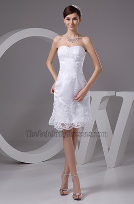 Gorgeous Short Lace Strapless Cocktail Wedding Dresses