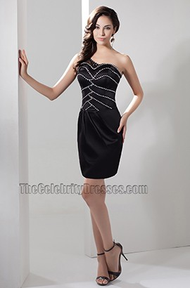 Short /Mini Black One Shoulder Party Homecoming Dresses
