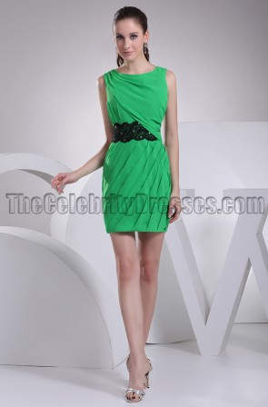 Short Mini Green Party Homecoming Dresses With Black Belt