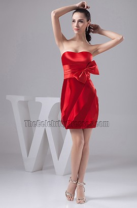 Short Mini Red Strapless Sweetheart Party Homecoming Dress