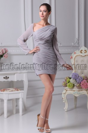 Sexy Short Mini Silver Long Sleeve Paty Dresses