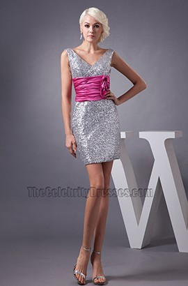 Chic Short Mini Silver Sequins V-Neck Party Homecoming Dress