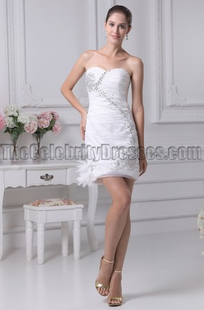 Mini White Sweetheart Beaded Party Homecoming Dresses