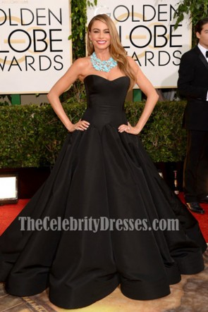 Sofia Vergara Black Formal Dress 2014 Golden Globe Awards Red Carpet