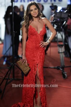 Stephanie Saliba sexy roten Spitzenabend Kleid BIAF 2014 Roter Teppich