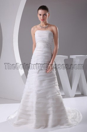 Strapless A-Line Count Train Wedding Dresses