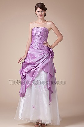 Strapless A-Line Full Length Prom Gown Formal Evening Dresses