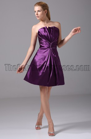 Short Purple Strapless Bridesmaid Graduation Party Dresses