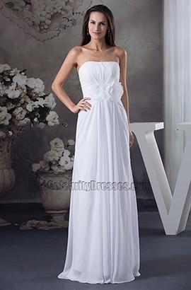 Strapless Chiffon Sweep Brush Train Informal Wedding Dress