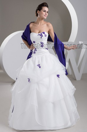 Strapless Embroidered Floor Length Ball Gown Wedding Dress With A Wrap
