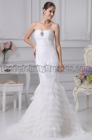Classic Strapless Trumpet / Mermaid Tulle Wedding Dresses