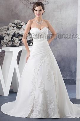 Strapless Sweetheart A-Line Beaded Chapel Train Wedding Dress