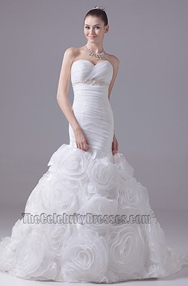 Trägerloses Schatz-Meerjungfrau-Organza-Hochzeitskleid mit 3D-Blumen