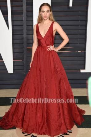 Suki Waterhouse Red A-Line Formal Dress 2015 Oscars Red Carpet