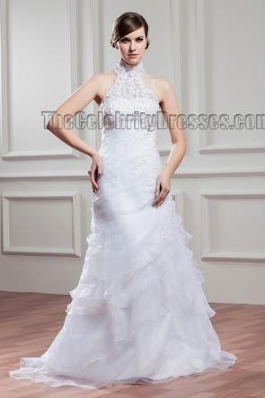 Sweep/Brush Train Halter Beaded Wedding Dress Bridal Gown