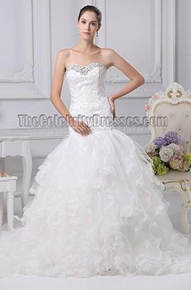 Sweetheart Lace Organza Lace Up Back Wedding Dress