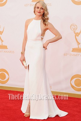 Taylor Schilling White Prom Dress 2013 Emmy Awards Red Carpet