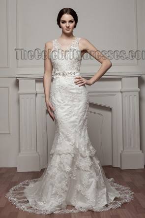 Trumpet /Mermaid Lace Chapel Train V-Neck Wedding Dresses