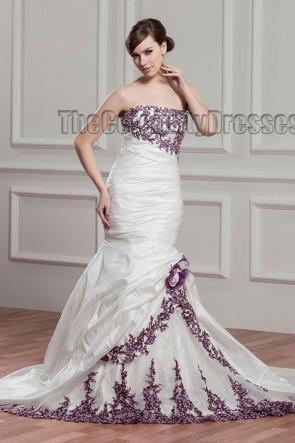 Trumpet/Mermaid Strapless Embroidered Chapel Train Wedding Dress