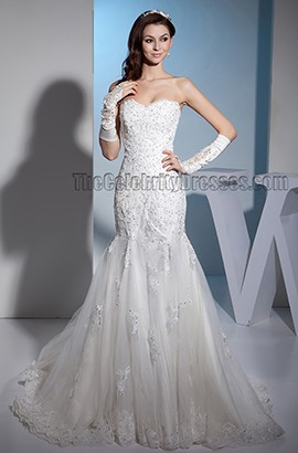 Trumpet/Mermaid Strapless Lace Beaded Sweetheart Wedding Dress
