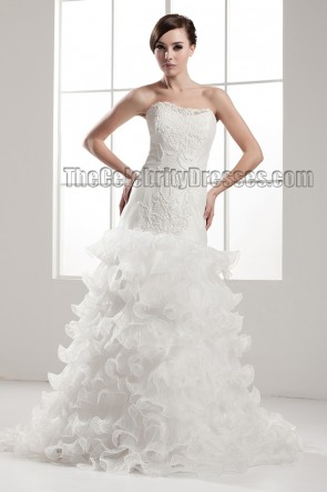 Trumpet /Mermaid Strapless Ruffles Lace Up Wedding Dresses
