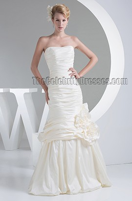 Trumpet /Mermaid Strapless Taffeta Floor Length Wedding Dresses