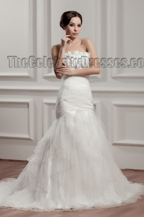 Trumpet/Mermaid Strapless Tulle Wedding Dresses
