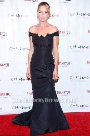 Uma Thurman dark navy Off-the-Shoulder formales Kleid World Childhood Foundation 16. Jahrestag Veranstaltung