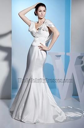 V-Neck Cap Sleeves Mermaid Chapel Train Wedding Dresses