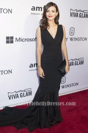 Victoria Justice Schwarzes V-Ausschnitt Formales Abendkleid 2015 amfAR Inspiration Gala Roter Teppich TCD6203