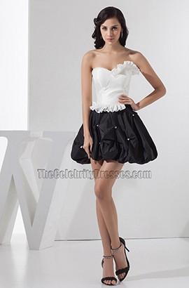 Weißes und schwarzes trägerloses Blasenrock-Party-Heimkehrkleid