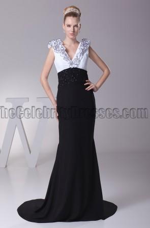 Elegant White And Black V-Neck Formal Dress Evening Gown